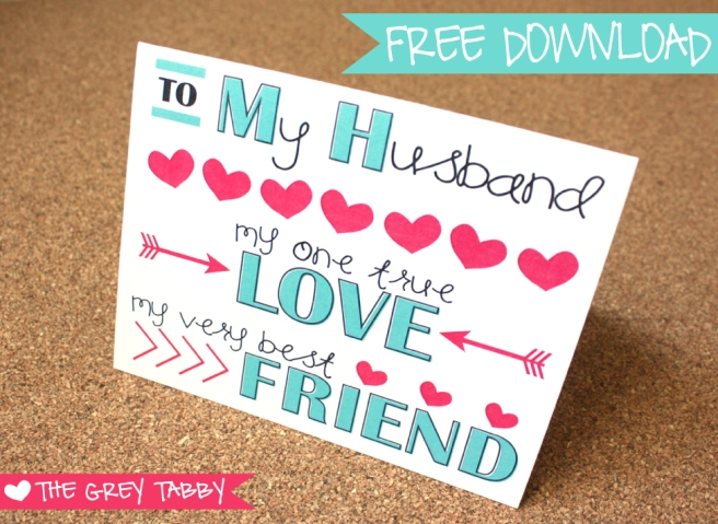 Freebie Printable Card - To My Husband: A Love Note Card