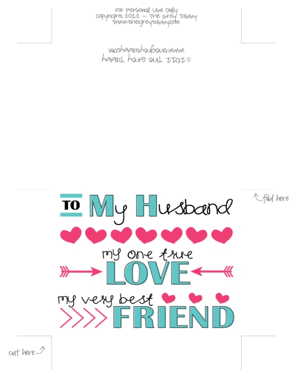 Freebie Friday To My Husband A Printable Love Note Card The Grey Tabby