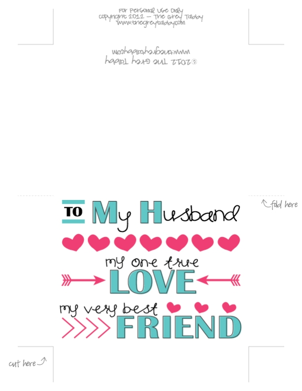 Free Printable - To My Husband: A Love Note Card